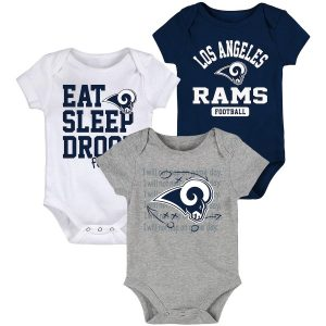 Newborn & Infant Los Angeles Rams Football Three-Piece Bodysuit Set
