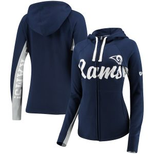 Women's Hands High Navy Los Angeles Rams Rally Full-Zip Hoodie