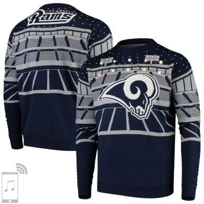 Men's Navy Los Angeles Rams Bluetooth Light Up Ugly Sweater
