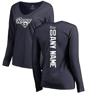 Women's NFL Pro Line Navy Los Angeles Rams Long Sleeve T-Shirt